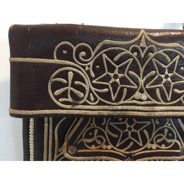 Folk Art Cross Body Leather African Berber Tribal Moroccan Bag For Sale - Image 3 of 10