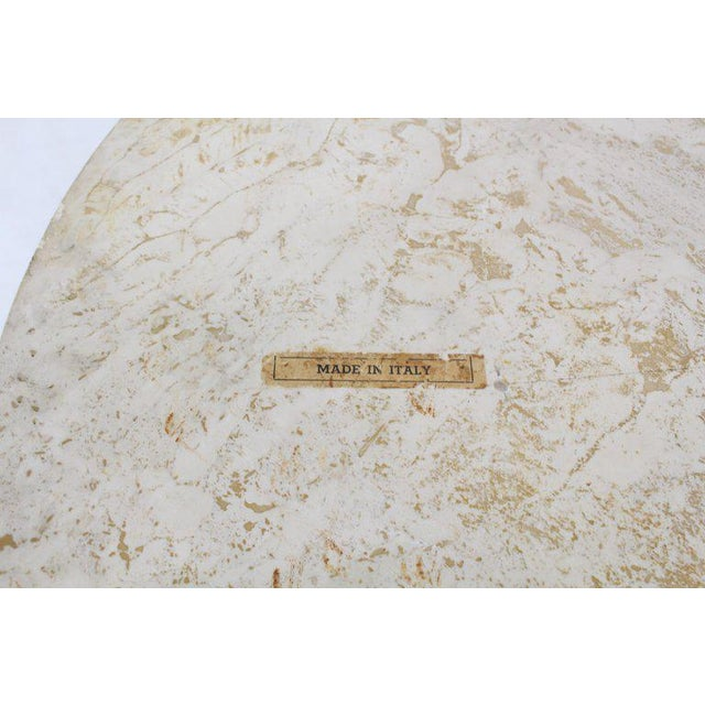 Mid-Century Modern Italian Modern Round Travertine Top Coffee Table on Tapered Metal Legs Base For Sale - Image 3 of 11