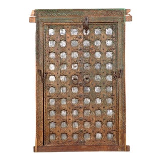Antique Indian Teak Wood & Iron Window For Sale