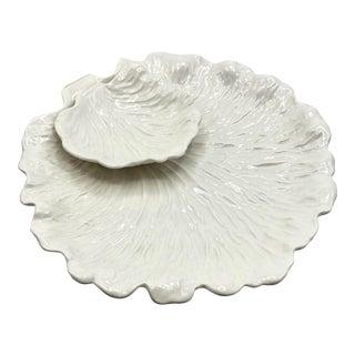 Vintage 1980s Majolica Cabbage Leaf Chips & Dip Bowl For Sale