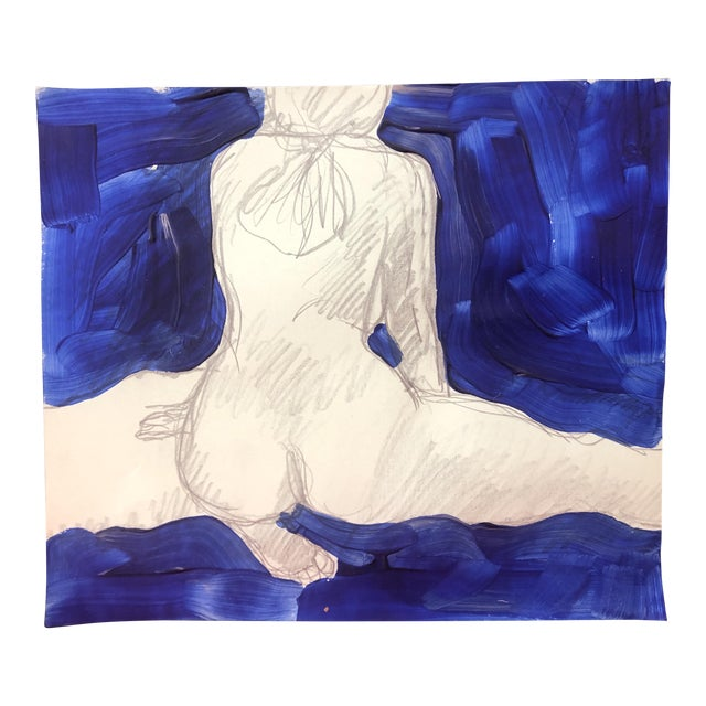 1970s James Bone Female Nude Seated on the Floor With Drapery Painting For Sale