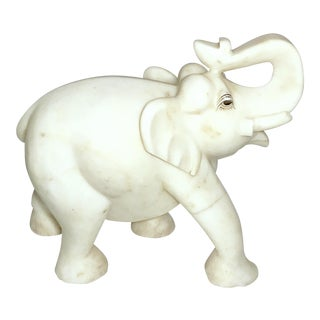 1950s Vintage Original Hand Craved White Marble Elephant Figurine For Sale