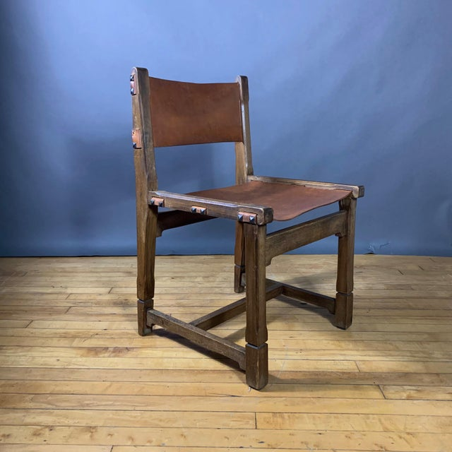 Four French 1940s Saddle Leather & Oak Dining Chairs For Sale In New York - Image 6 of 13