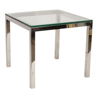 Baughman Style Chrome & Glass Square Table