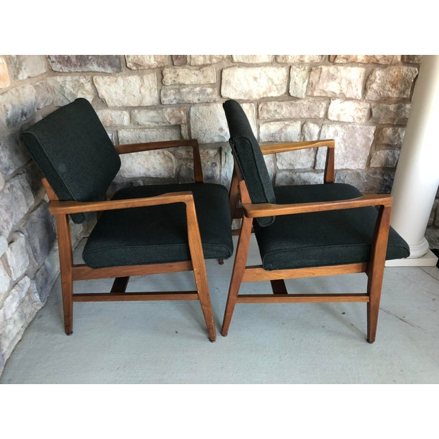 Mid Century Danish Modern Upholstered Arm Chairs - a Pair For Sale - Image 6 of 11