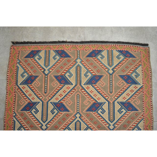 """1960s Vintage Masterpiece Braided Rug. Hand Woven Small Area Rug - 3' 7"""" X 6' For Sale - Image 5 of 10"""