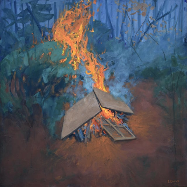 """Burning Old Paintings"" Contemporary Painting by Stephen Remick For Sale - Image 13 of 13"