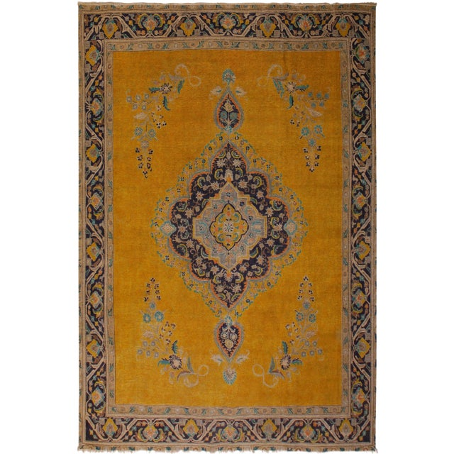 10e6492c03 Vintage Distressed Charlena Gold/Blue Wool Rug - 9′5″ × 12′4″ | Chairish