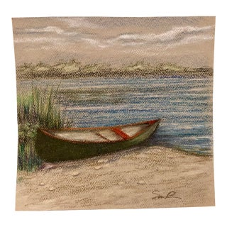 """Final Price Before Deactivation! Nancy Smith """"Green Canoe"""" Original Colored Pencil Drawing For Sale"""