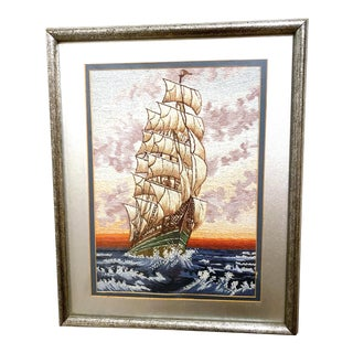 """Vintage Wiehler Handmade Silk Needlepoint Gobelin """"Ship in the Storm"""" - With Frame For Sale"""