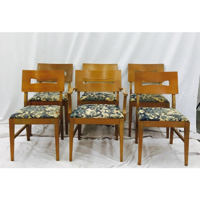Brown Vintage Mid-Century Modern Square Back Wooden Dining Chairs - Set of 6 For Sale - Image 8 of 9
