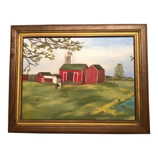 1970's Vintage Farm Scene Framed Original Oil Painting For Sale