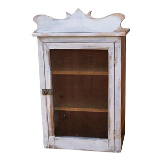 Antique Shabby White Wall CupboardCountry Farmhouse Pie Safe For Sale
