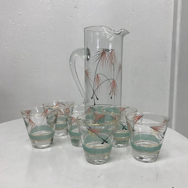 Mid-Century Modern Set of Six Glasses and Pitcher For Sale - Image 11 of 11
