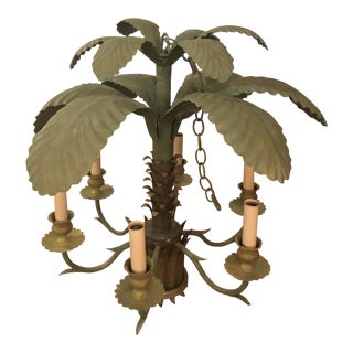 Vintage Hollywood Regency Green Metal Tole Palm Tree Leaf Chandelier For Sale