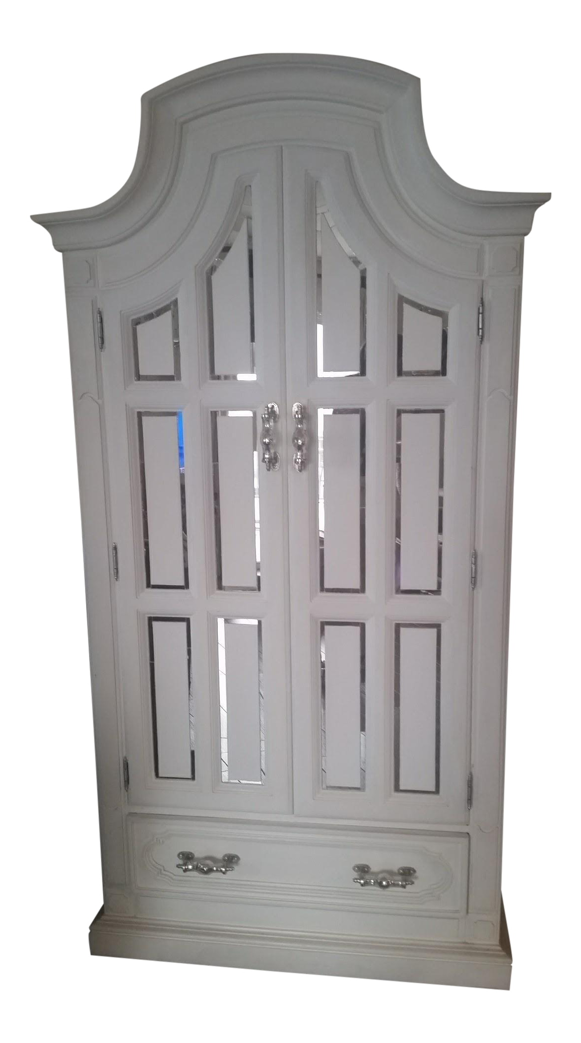 Mirror Accented White Armoire