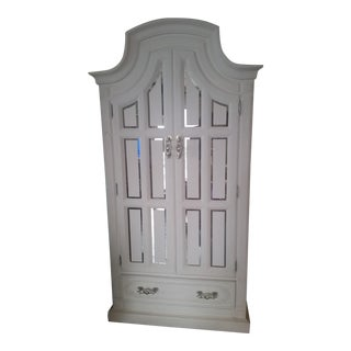 White Armoire W/Handcut Mirrored Accents