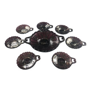 Early 20th Century Art Deco Style Murano Dessert Service for 6 - Set of 7 For Sale