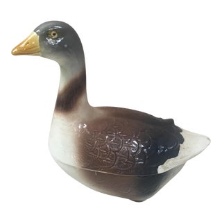 1950s Country Brown Ceramic Goose Tureen For Sale