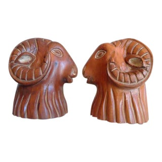 Sarreid Rams Head Bookends - A Pair For Sale