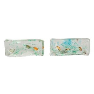 Alfredo Barbini Cenedese Glass Fish Blocks - a Pair For Sale