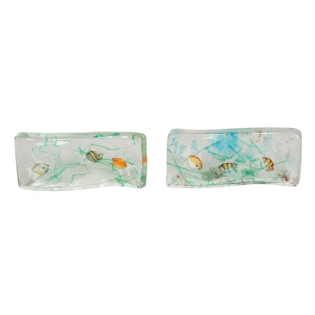 Alfredo Barbini Cenedese Glass Fish Blocks - a Pair - Image 1 of 7