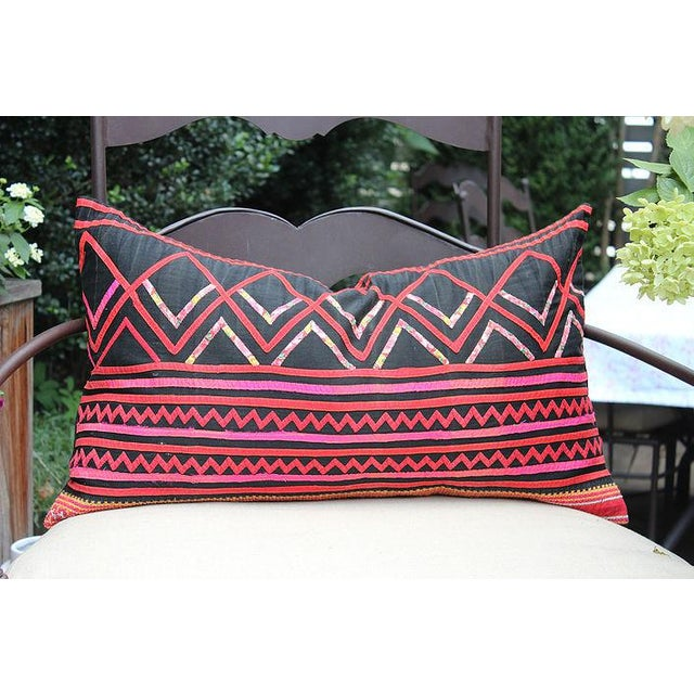 "Vintage Hmong Black and Pink Pillow - 23"" x 12"" - Image 2 of 3"