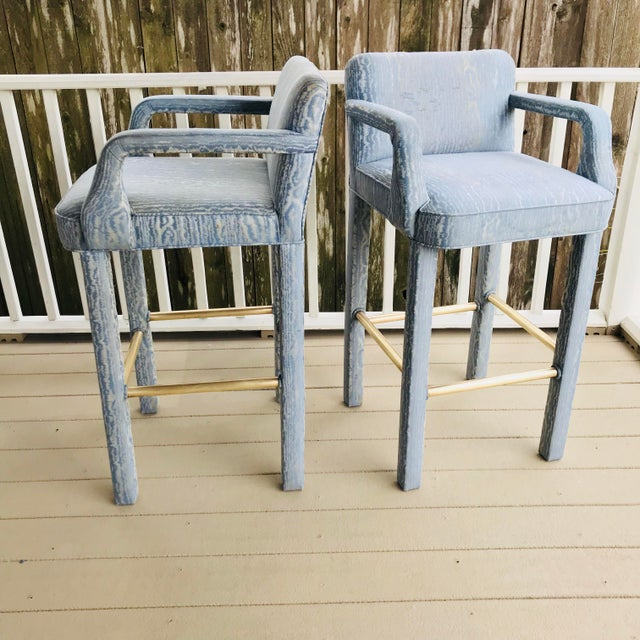 Hollywood Regency Vintage Parsons Bar Stools - a Pair For Sale - Image 3 of 8