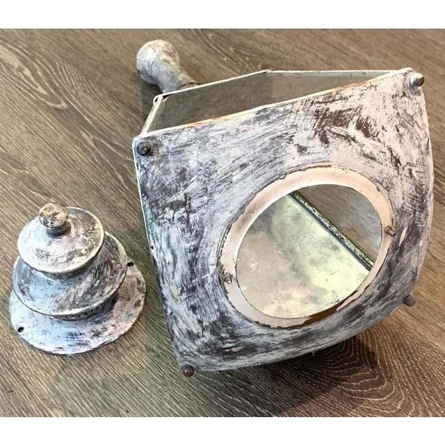 Metal English Verdigrises' Brass Coach Lamp Sconces - a Pair For Sale - Image 7 of 9