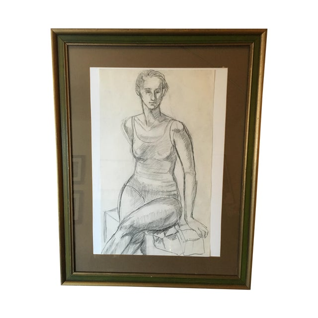 Framed Vintage Drawing of a Woman - Image 1 of 7