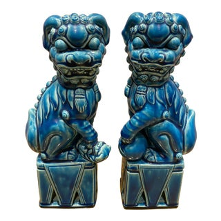 Chinese Turquoise Foo Dogs - a Pair For Sale