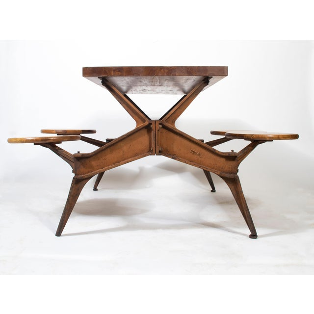 Industrial 1920s Vintage Industrial Swing Stool Dining Table For Sale - Image 3 of 8
