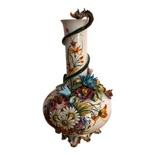 """Vintage 27"""" Mid-Century Carpie Italian Ceramic Footed Vase"""