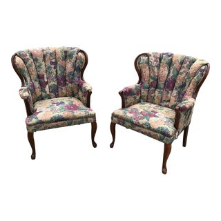 Tapestry Barrel Back Chairs - A Pair For Sale