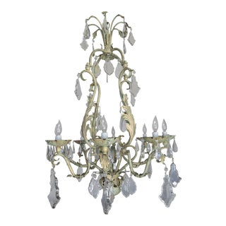 French Wrought Iron and Crystal Painted Chandelier, circa 1930 For Sale