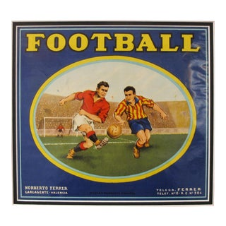 1920's Original Vintage Spanish Fruit Crate Label - Football - Norberto Ferrer - Carcagente Espana For Sale