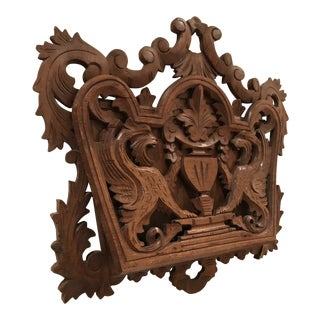 Late 19th Century Hand Carved Wooden Griffin Wall Mounted Mail Holder For Sale