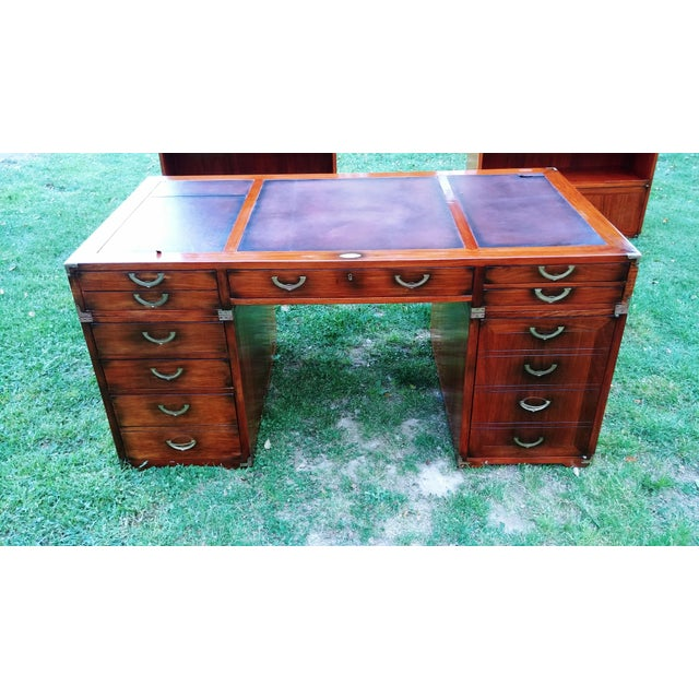 Traditional Starbay Rosewood Richelieu Leather Top Executive Desk For Sale - Image 12 of 13