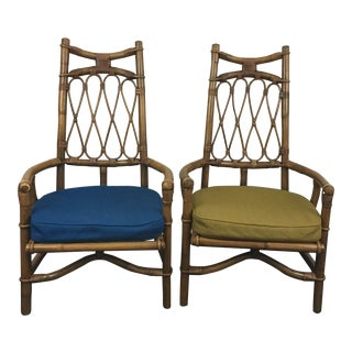 Tall Backed Bamboo Armchairs - a Pair