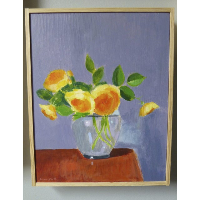 "Original Painting ""Yellow Roses on Red Table"" - Image 2 of 4"