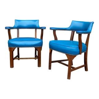 Walnut & Blue Vinyl Nailhead Armchairs - a Pair For Sale