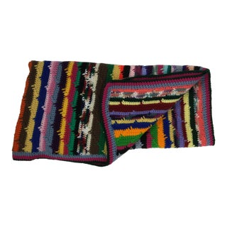 Artisan Hand Knit Wool Blend Throw For Sale