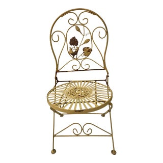 Chippy Yellow Folding Garden Chair For Sale