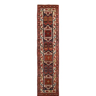 Antique Heriz Red and Blue Geometric Persian Wool Runner - 3′2″ × 13′2″ For Sale