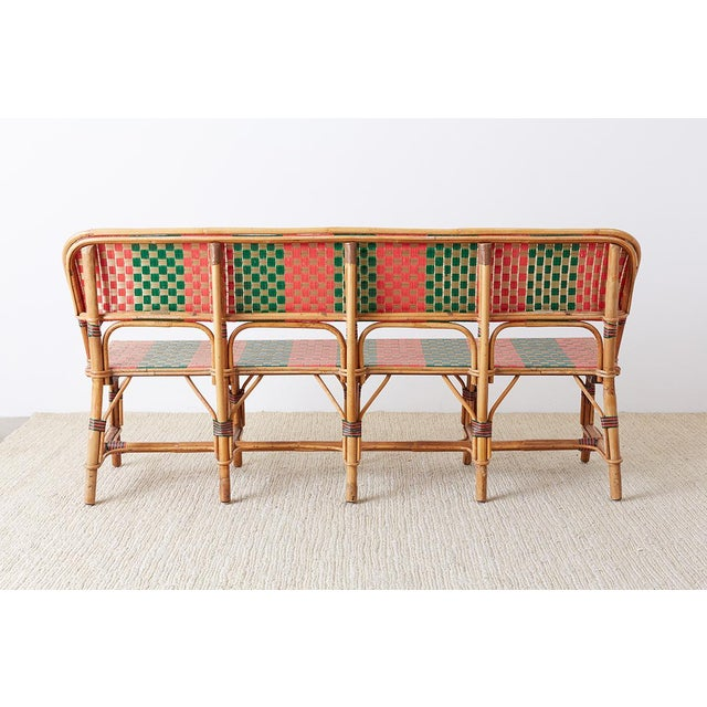 French Maison Gatti Rattan Bamboo Banquette Bench For Sale - Image 12 of 13
