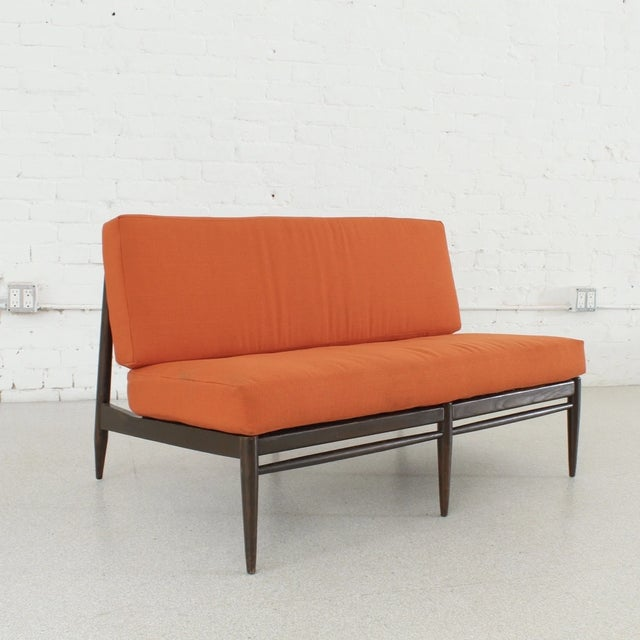 Vintage Orange Tweed Armless Low Profile Loveseat For Sale - Image 4 of 7
