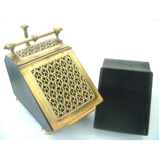 Vintage Brass Coal Scuttle & Pumice Fireplace Lighting Set - Image 4 of 8