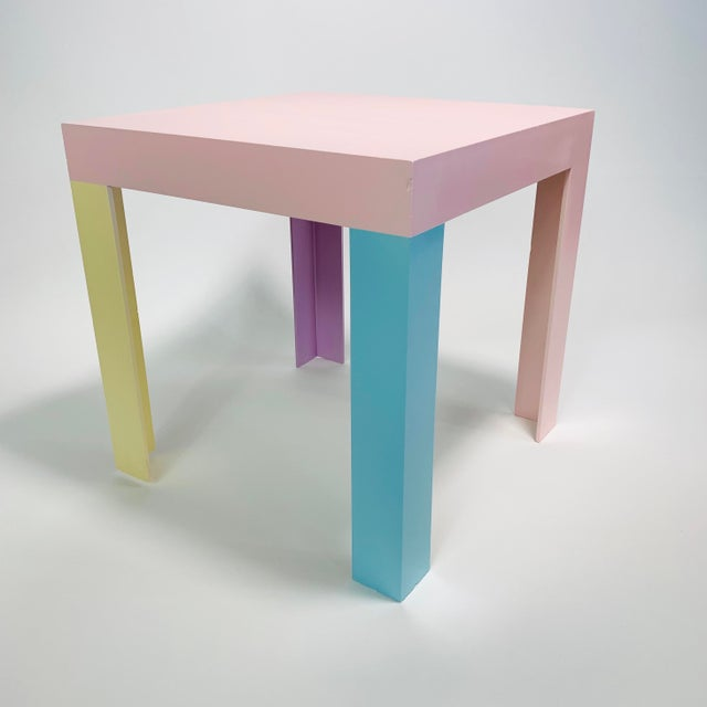 Ettore Sottsass Memphis Inspired Pastel Parson Style Side Table For Sale - Image 4 of 10