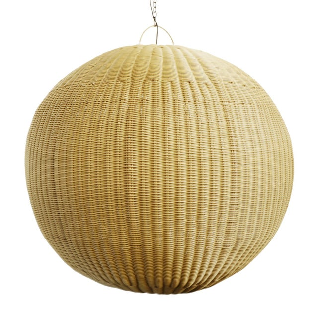 Faux Rattan Globe Lantern XL For Sale In Los Angeles - Image 6 of 6