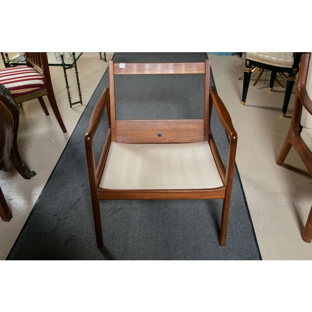 White Ole Wanscher Mid-Century Teak Lounge Chair For Sale - Image 8 of 9